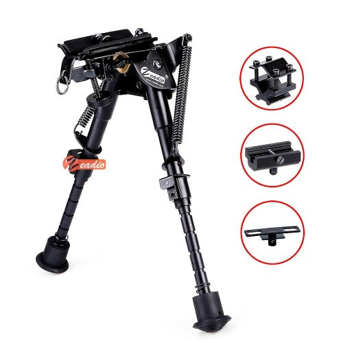 Zeadio 6 - 9 inches Swivel Pivot Tiltable Bipod with Sling Mount and 3 Adapters