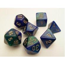 Chessex Gemini Polydice Set - Blue/Green/Gold