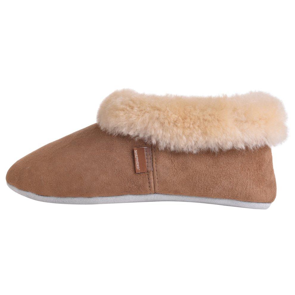 6237ad5b88c17 ... Shepherd of Sweden Ladies Suede Sole Sheepskin Bootee Slippers - 4 ...