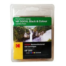 Kodak Remanufactured HP HP300 Black & Colour Inkjet Ink Combo Pack, 21ml