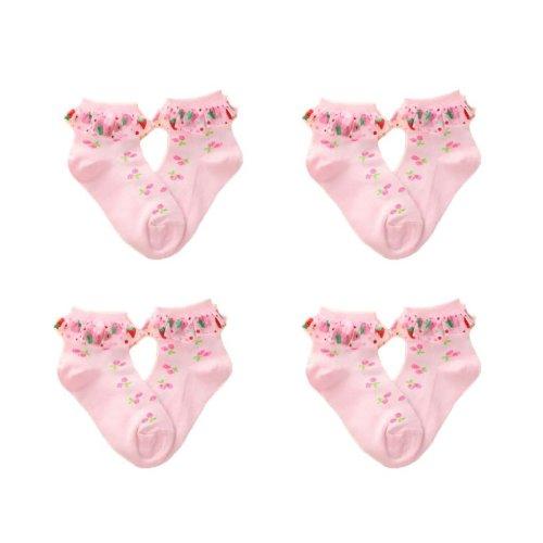 4 Pairs Baby Girls Socks For 3-5 Year-old Girls Short stockings Kids Cute Crew Socks Cotton Pink