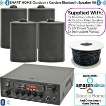 SMART HOME OUTDOOR BLUETOOTH SPEAKER SYSTEM – 4x Black External Weatherproof Speakers, 1x 110W Compact Stereo Amplifier & Cable