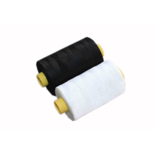 1 Black & 1 White Spools Polyester Sewing Thread 800 Yards Each (3.1 by 6.5cm)