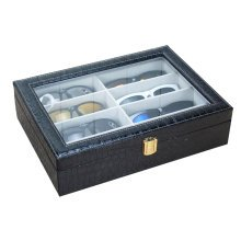 Leather Storage Case Eyeglasses Display Organizer Box– 8 Compartments (Black)