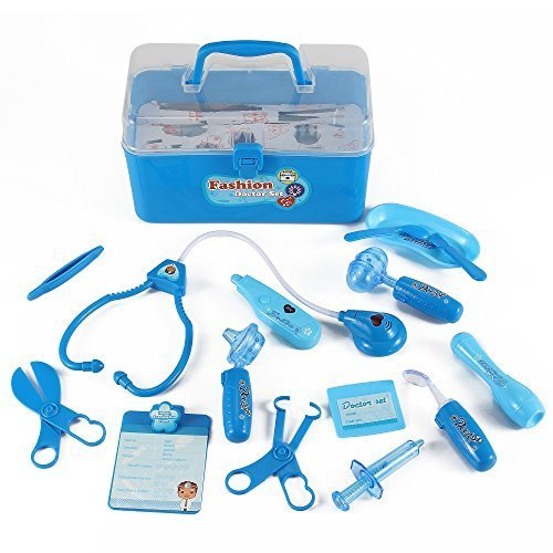 Liberty Imports Medical Box Blue Doctor Nurse Medical Kit Playset for Kids - Pretend Play Tools Toy Set