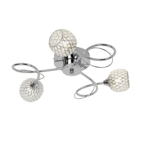 Stylish 3 Arm Flush Ceiling Light With Glass Beads