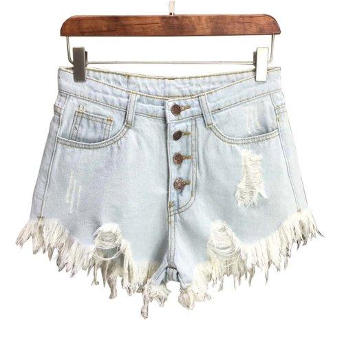 Trendy Shorts Women's Summer High Waist Jeans Shorts Denim Shorts, B
