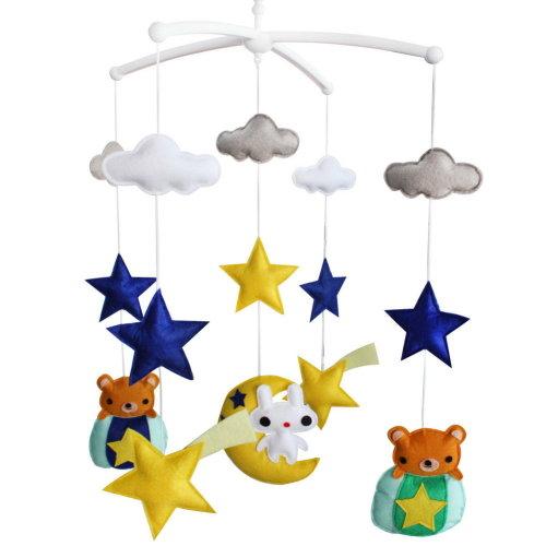 [Night Sky, Whimsy] Baby Boy & Girl Bedding Rattle Toy, Crib Mobile