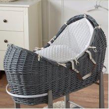 Cream Dimple Grey Wicker Moses Basket Pod