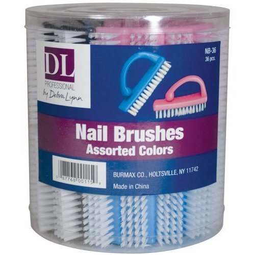 DL Professional Handle Nail Brush Display 36 Pieces (NB36)