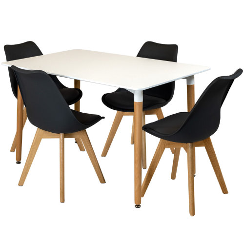 Enjoyable Black Rectangular Dining Table Set Four 4 Dinner Kitchen Chairs White Solid Beech Wood Unemploymentrelief Wooden Chair Designs For Living Room Unemploymentrelieforg