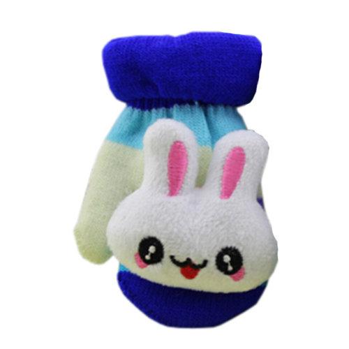 1 Pair Children's Winter Gloves Soft knitted&Warm Mittens (0-3 Years)Dark Blue