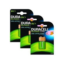 3 x Duracell 9V PP3 Block 170 mAh Rechargeable Batteries HR22 6LR61 HR9V DC1604