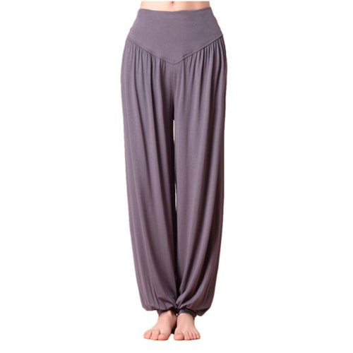 Solid Modal Cotton Soft Yoga Sports Dance Fitness Trousers Harem Pants, C
