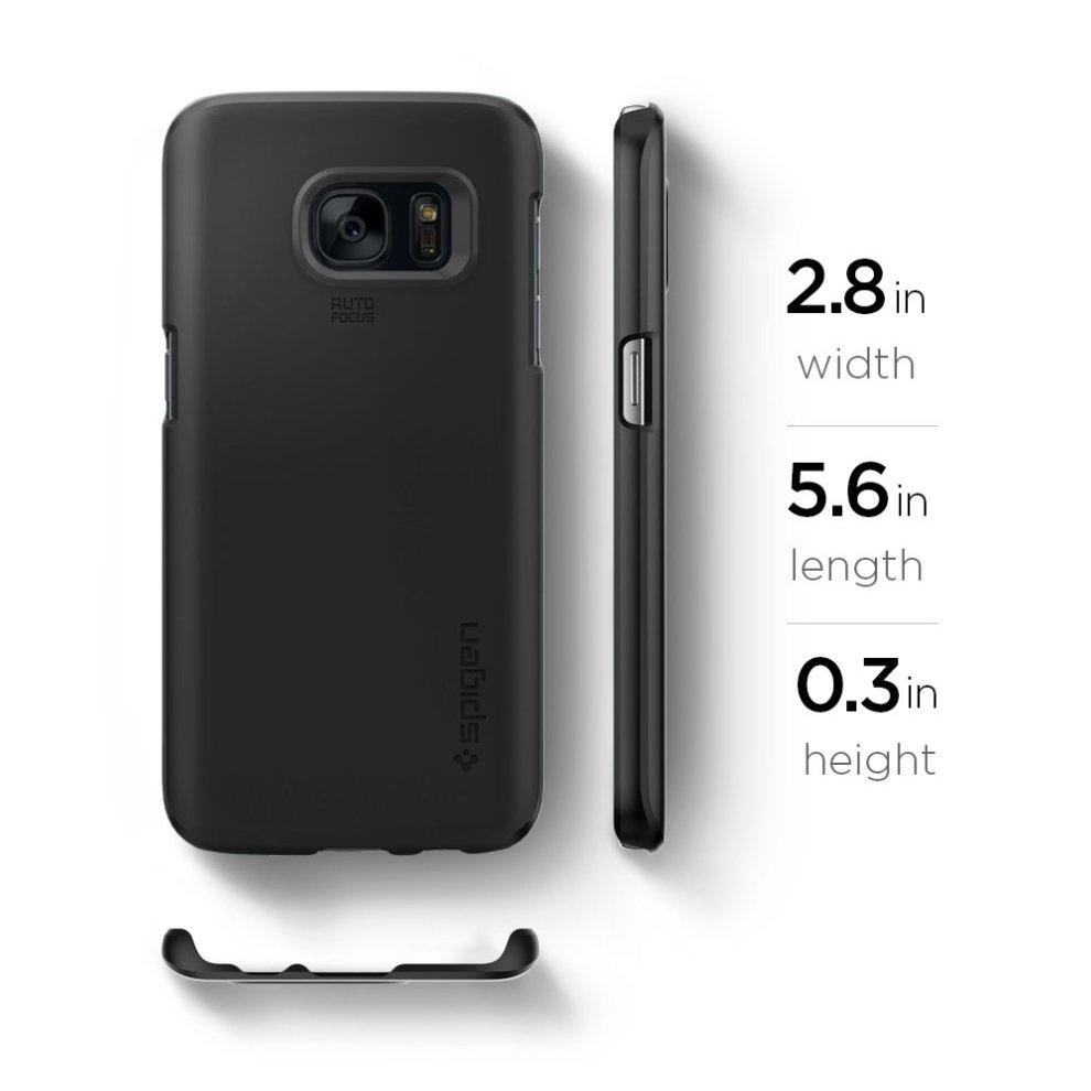 arrives 04c38 7f297 Spigen Thin Fit Galaxy S7 Case with SF Coated Non Slip Matte Surface for  Excellent Grip for Samsung Galaxy S7 2016 - Black