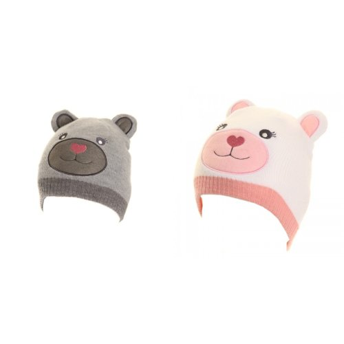 Kids Girls Animal Teddy Bear Design Beanie Hat With Ears