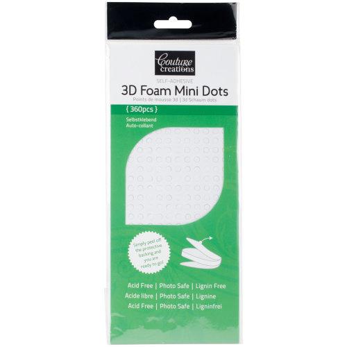 Couture Creations 3D Foam Mini Dots 360/Pkg-White