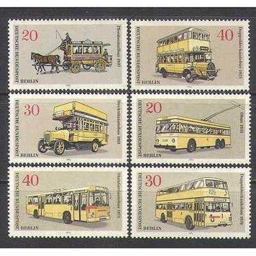 Germany 1973 Buses  /  Trams  /  Horses  /  Transport 6v set n26042
