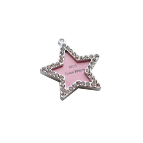 [Star-shaped] Rhinestone Decorated Mini Photo Frame Style Dog ID Tag Cat ID Tag