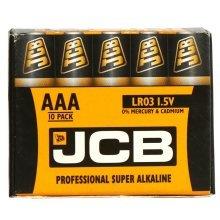 10 x JCB AAA 1.5V Professional Super Alkaline Industrial Batteries LR03 R3