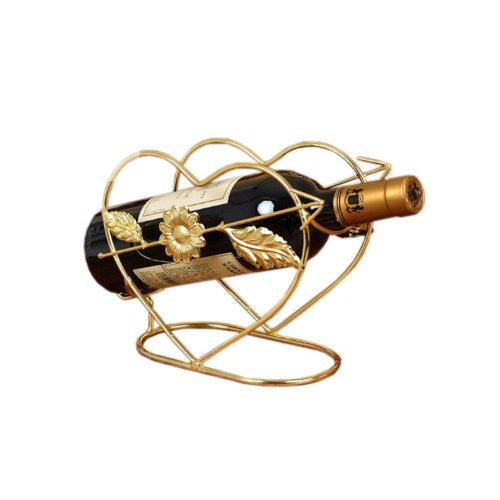 [Heart-shaped] Elegant Wine Rack Storage Organizer Display Holder Golden