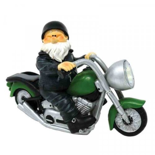 Woodland Wilf on Motorbike Garden Gnome with Solar Headlight Light