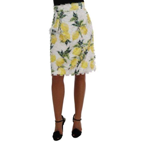 Dolce & Gabbana Lemon Print Fringe Pencil Skirt