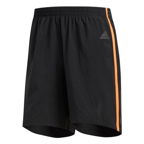 "adidas Response 7"" Mens Running Fitness Training Gym Short Black/Orange"