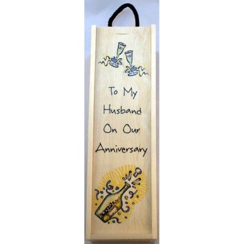 To my Husband on our Anniversary Decorated Wine Box