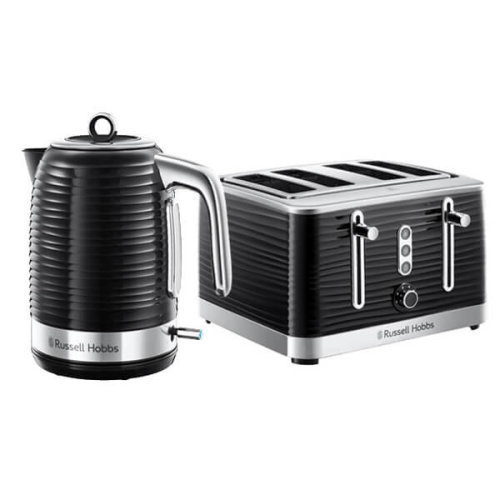 Russell Hobbs Inspire Kettle & 4 Slice Toaster Set Black