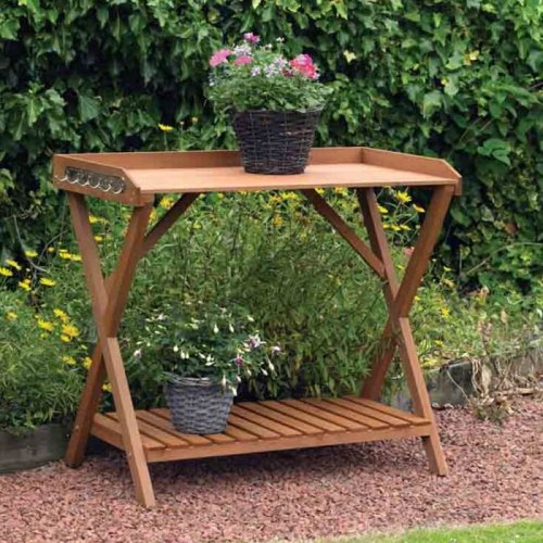 Kingfisher Extra Large Wooden Potting Table Greenhouse Shelving 2 Tier & Hooks