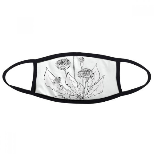 Dandelion Blossoming Black White Flowers Mouth Face Anti-dust Mask Anti Cold Warm Washable Cotton Gift