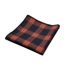 2 Pieces Of Cotton Hand Towel Handkerchief Pocket Towel, Orange Lattice