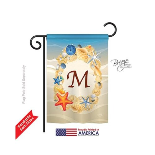 Breeze Decor 80169 Summer M Monogram 2-Sided Impression Garden Flag - 13 x 18.5 in.