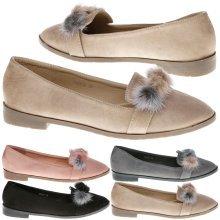 Colette Womens Low Heel PomPom Loafers