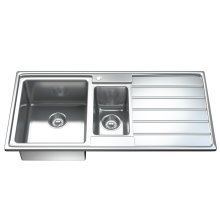 1541 1.5 One & Half Bowl Stainless Steel Kitchen Sink, Drainer & Waste