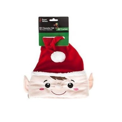 b77edbd8769 Luxury Christmas Hat - Red Elf Character Hat With Pom Pom   Embroidery -  One - christmas novelty elves behaving badly elf santa hat assorted colours  on ...