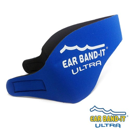 Ear Band-It ULTRA Neoprene Head Band for Swimming - Medium Size (Age 4 - 9 years) (True Blue, With Blue Putty Buddies)
