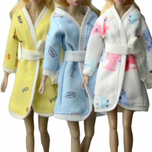 Random Color Doll Clothes Bathrobe for 30 cm Doll, 3 Pieces