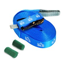 HOMCOM Slackline Set Balance Training w/Tree Protection Safety Rope 15m Blue