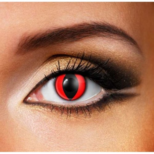 Red Cat Eye Contact Lenses (pair) - Halloween Contact Lenses
