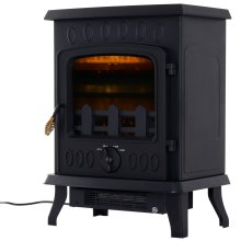 HOMCOM 1800W Freestanding Electric Fireplace Indoor Heater Stove Log Wood LED Burning Effect Flame with Thermostat Control