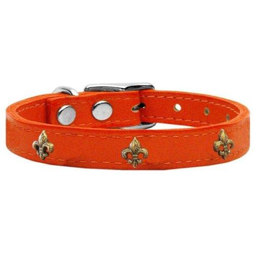 Mirage Pet 83-68 Or12 Bronze Fleur De Lis Widget Genuine Leather Dog Collar, Orange - Size 12