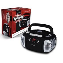 Groov-e Retro Boombox Portable CD, Cassette, Radio Player - Black GVPS813BK (GVPS813BK)