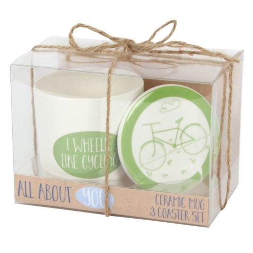 I Wheelie Like Cycling Mug & Coaster Set Fathers Day Dad Christmas Birthday Gift Coffee Tea