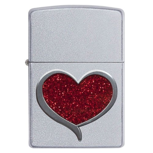 Glitter Heart Satin Chrome Zippo Lighter