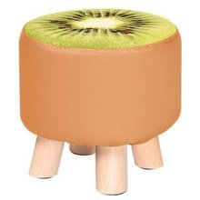 Creative Wood Fabric for Shoe Stool Household Stool Round stool Children Adults Apply, Brown, kiwi