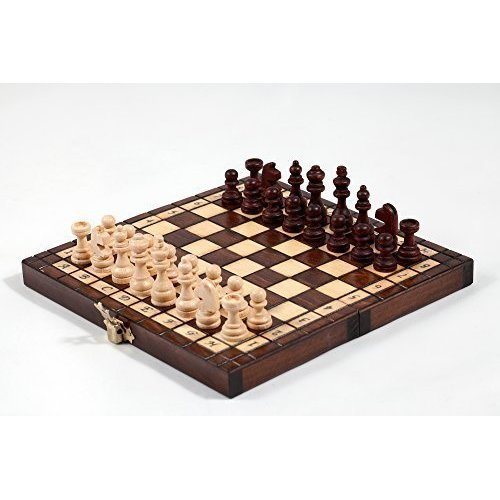 "8"" Pocket Wooden Tournament Style Chess Set 20cm x 20cm"