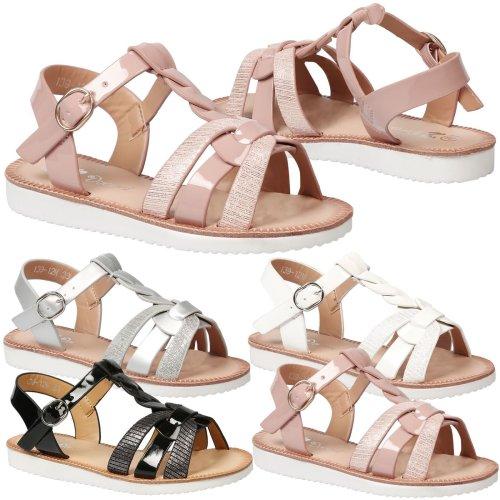 Yumi Kids Girls Low Heel Strappy Open Toe Gladiator Sandals