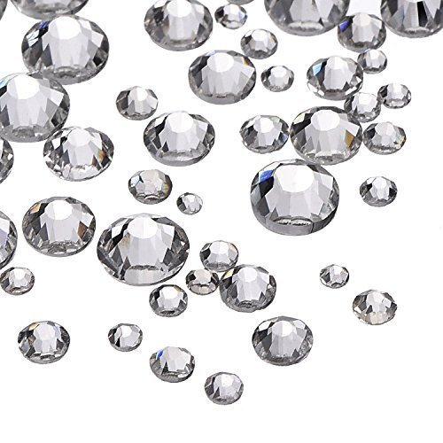 2000 Pieces 5 Sizes Clear Flat Back Crystal Rhinestones Round Gems 1.5-5 mm
